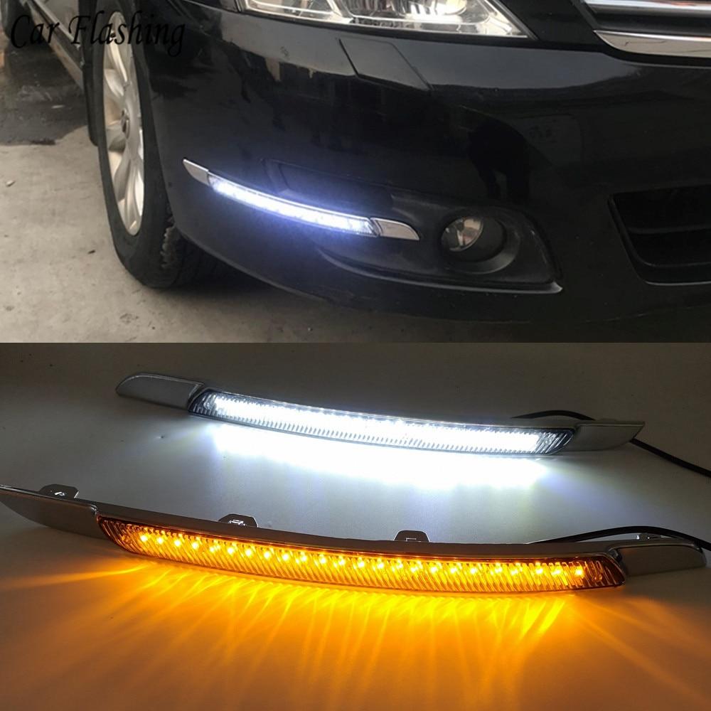 Luz LED de conducción diurna intermitente para coche para Nissan Altima teana 2008 2009 2010 DRL con señal de giro luz diurna lámpara antiniebla impermeable