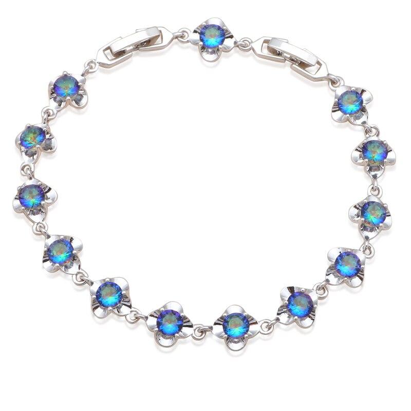 Regalo perfecto para el estilo de la flor de la novia AAA Zirconia plata relleno Multicolor cristal joyería encanto pulseras TB918A