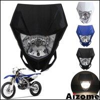 Universal Motorcycle 35W Headlight Fairing Motocross Dirt Bike Black Lighthouse Headlamp For Yamaha YZF YZ X WR 250 450