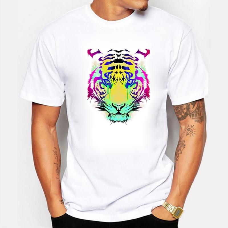 Camiseta de algodón con estampado colorido de Kings Return para hombre, camiseta de manga corta con dominación poderosa, camiseta novedosa con estilo, camiseta informal