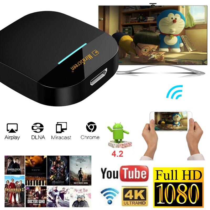 YEHUA G5/G5A 1080p HD Mini Dispositivo de TV inteligente pantalla Wifi Dongle Android 4,2 TV Stick Miracast DLNA AirPlay espejo cromo