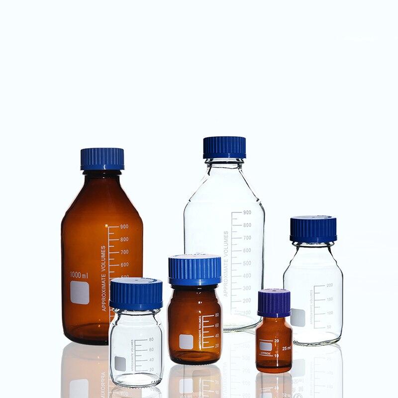 כלי מעבדה כימי כחול בורג כובע ענבר מגיב בקבוק