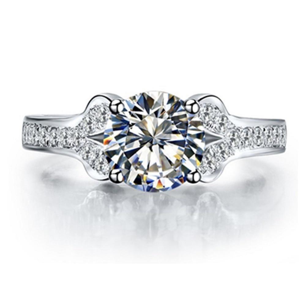 Teste positivo como diamante sólido 18 k anel de ouro branco 2ct anel de noivado diamante moissanite anel feminino jóias presente de casamento