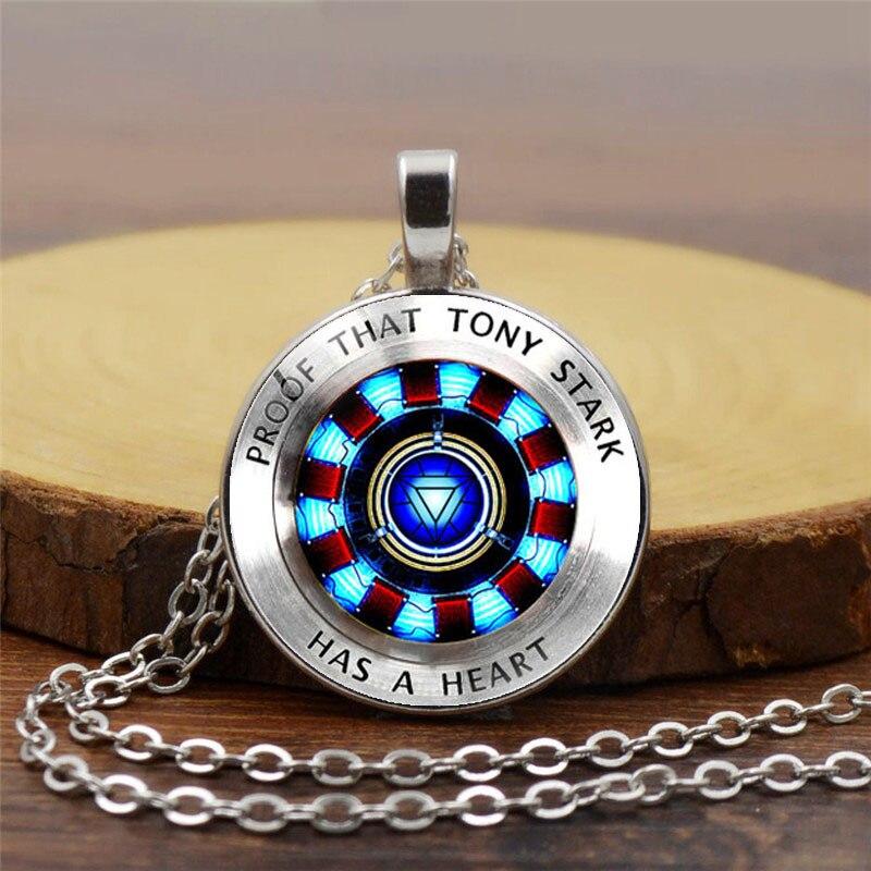Fashion Iron Man Heart Time Gem Necklace Poly Energy Glass Cabochon Pendant Marvel Tonys Stark Avengers 4 Souvenir