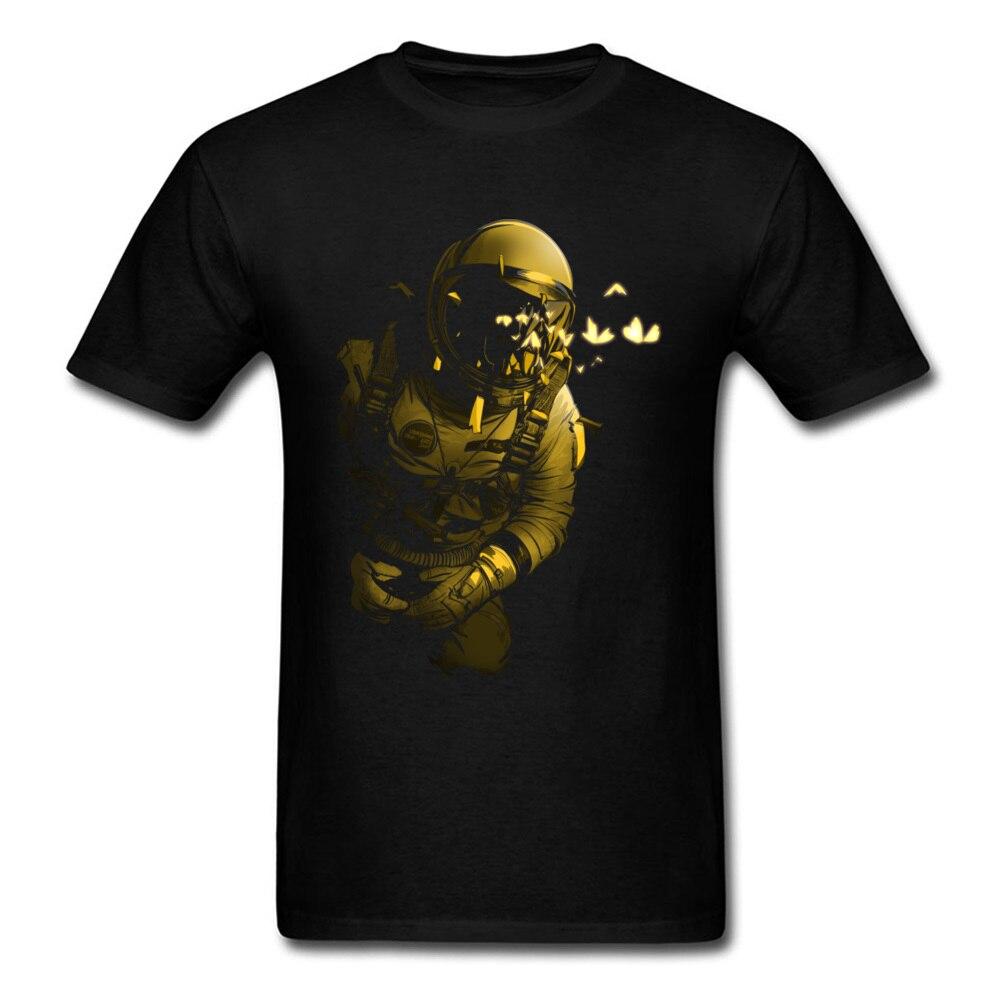 Camiseta negra Heavy Metal para hombres, camiseta de astronauta VS mariposas, camiseta de dibujos animados, Tops Retro de algodón de verano de alta calidad