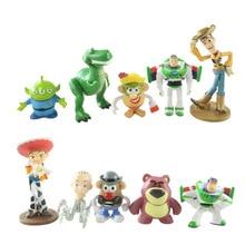 10 pcs/lot Toy Story Figurine Toy Woody Buzz Lightyear Jessie Rex Mr Potato Head Little Green Men Mini Toy Story Figure Set Toys
