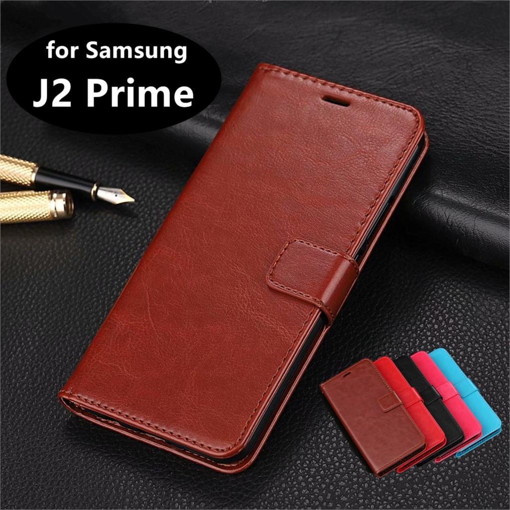 Soporte de teléfono con ranura para tarjeta de alta calidad PU cuero funda para Samsung Galaxy J2 Prime G532F G532M G532G Flip Case teléfono cubierta Shell