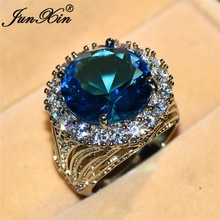 JUNXIN mystique Aqua bleu Zircon rond grands anneaux pour les femmes or blanc rempli grande pierre bague de mariage femme blanc bague en cristal CZ