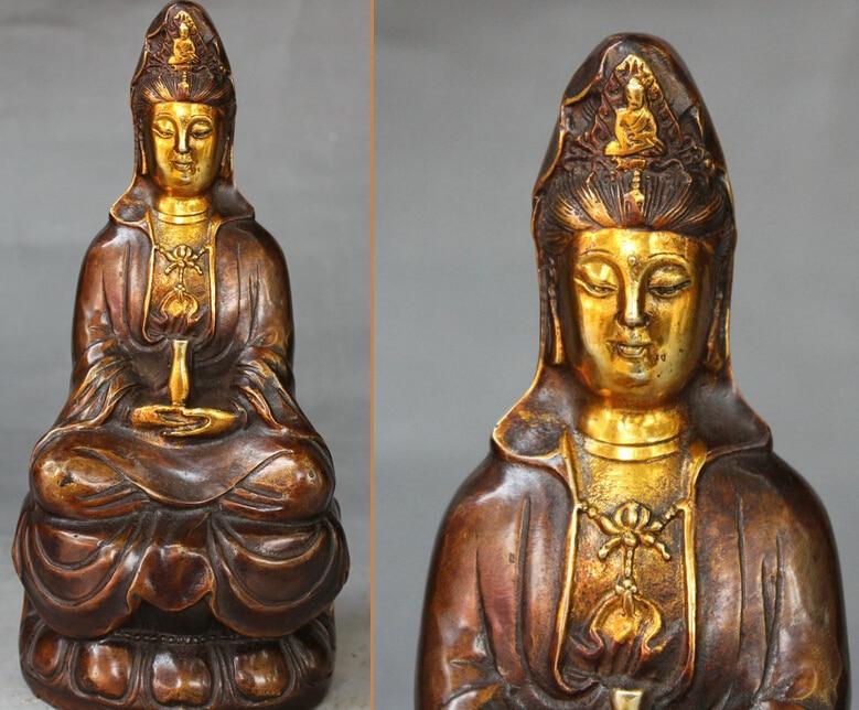 """8 """"Budismo Chino de Bronce Dorado Kwan-yin de GuanYin Diosa Estatua de Loto Asiento S0705 B0403"""