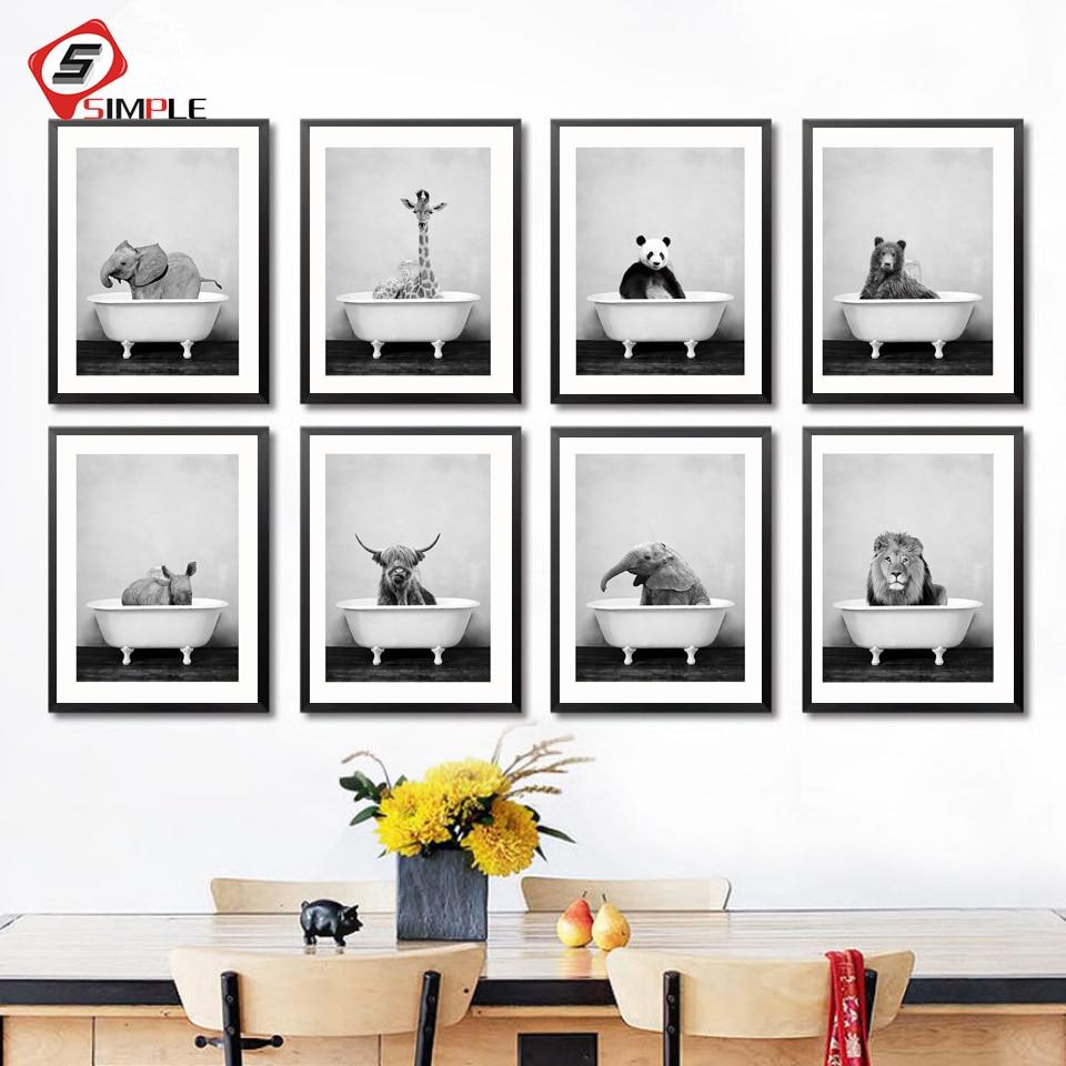 Детское животное в ванной плакат панда жираф слон лев свинья, корова холст живопись Настенная живопись садик скандинавские картины для дек...