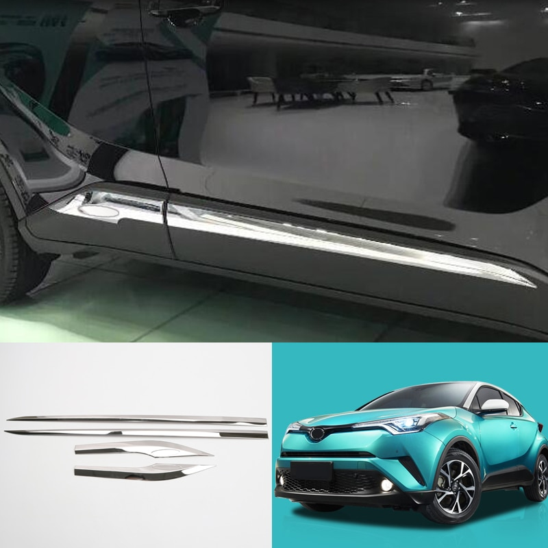Decoración para coche, 4 Uds., tiras de moldeado cromado de acero inoxidable para carrocería de coche, moldura decorativa para Toyota C-HR CHR 2016 2017 2018
