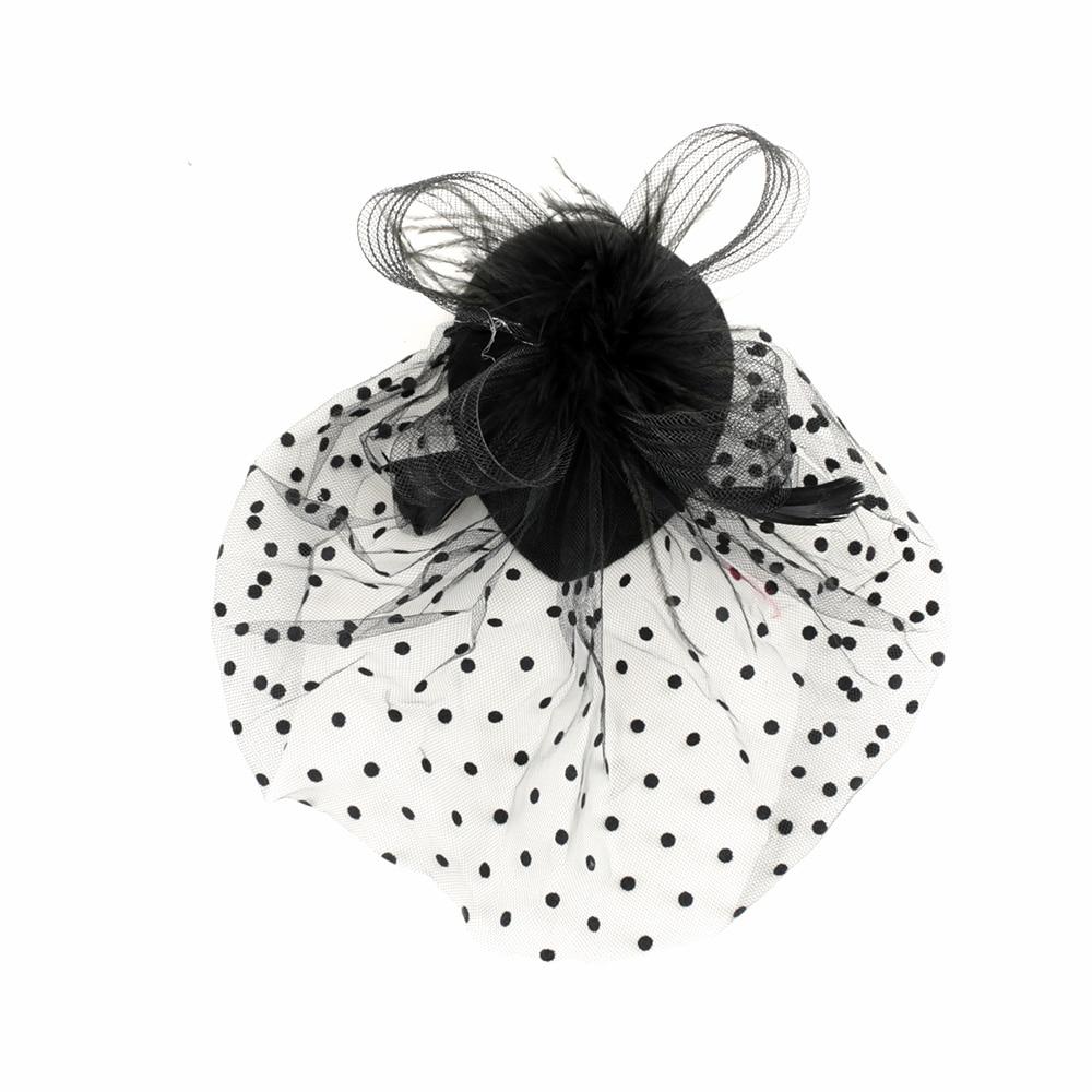 Элегантные женские шапки с перьями, 1 шт., сетчатая вуаль, повязка на голову, аксессуары для волос, романтичный и очаровательный, Лидер продаж