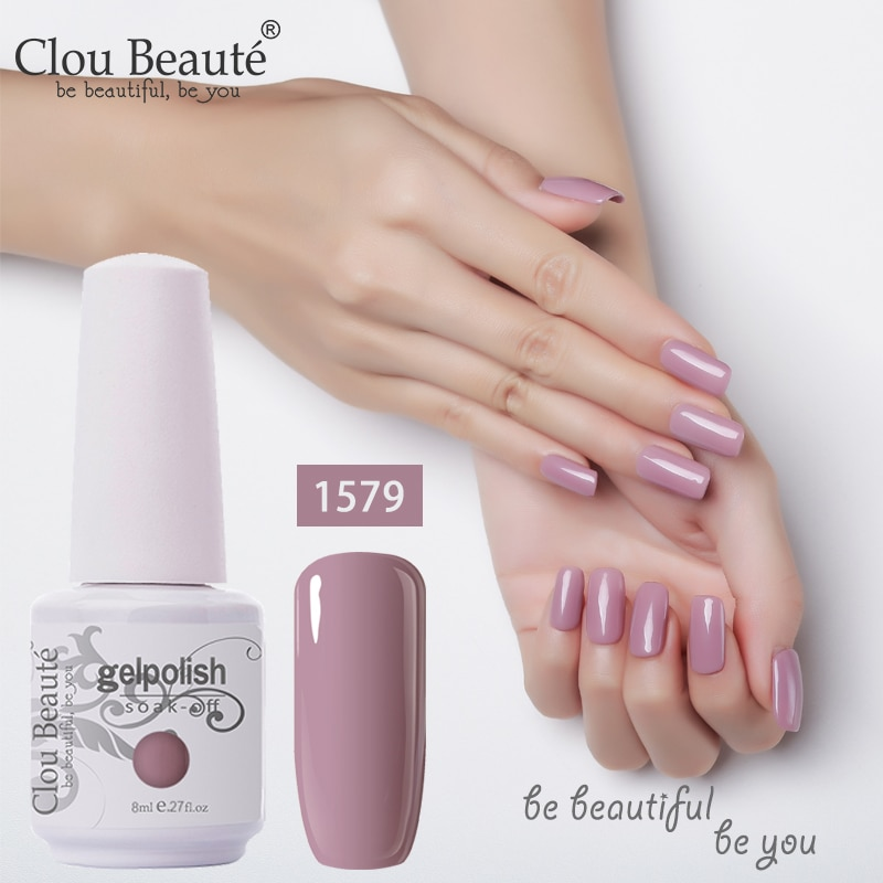 Clou Beaute 8ml botella de esmalte de uñas de Gel 85 colores Semi permanente barniz de pintura Gel brillo calcetín rojo rosa prebase para uñas polaco UV