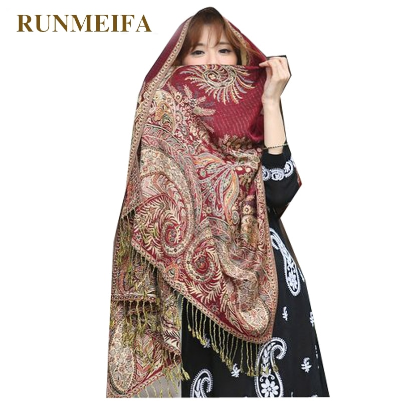 RUNMEIFA 2019 mujer elegante cachemir Pashmina bufanda moda estampado Floral chal Wrap foulard femenino Hijab bufandas más tamaño