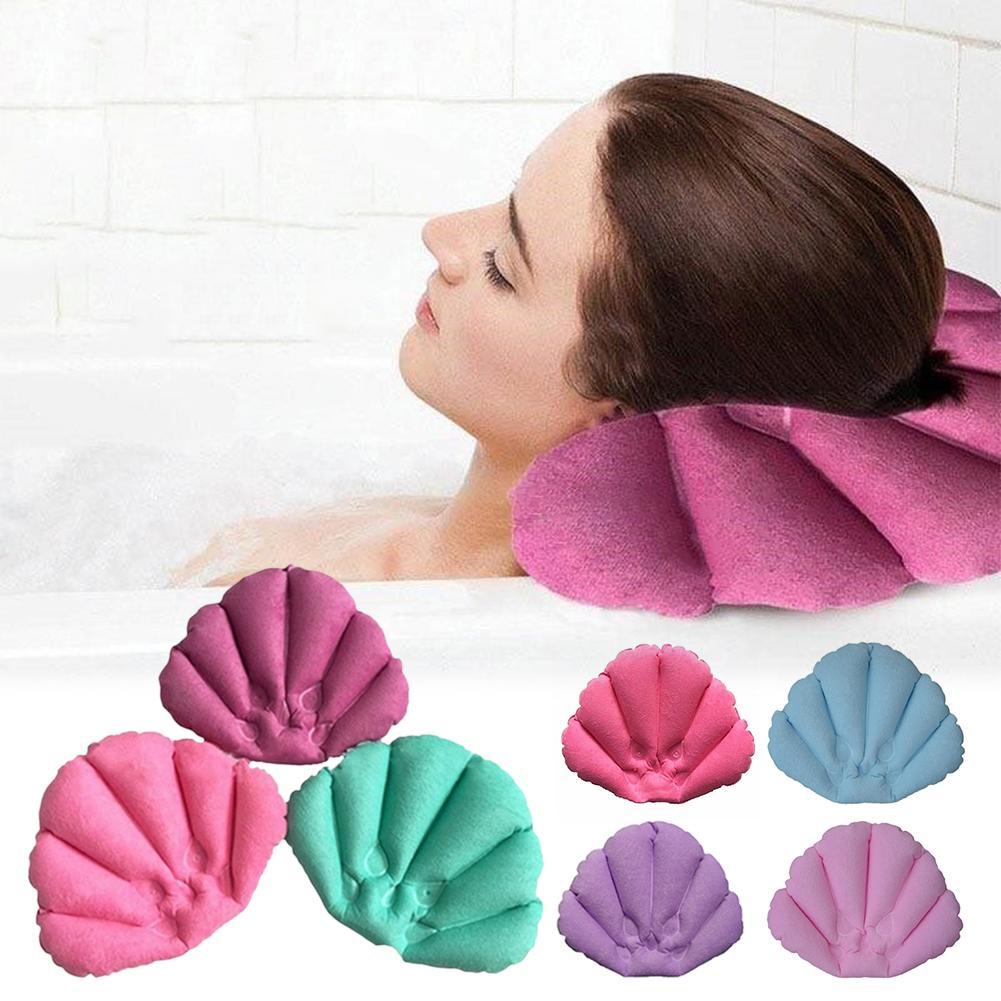 Almohada de baño En forma de concha toalla inflable hogar cojín de baño spa con ventosas cuello soporte almohada Color al azar Dropship