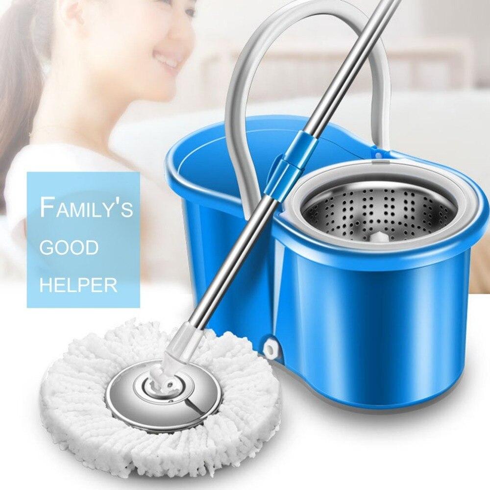 Práctica casa magia mopa para limpiar el piso de 360 grados de vuelta-Wring de algodón de fibra de la cabeza de fregona conjunto