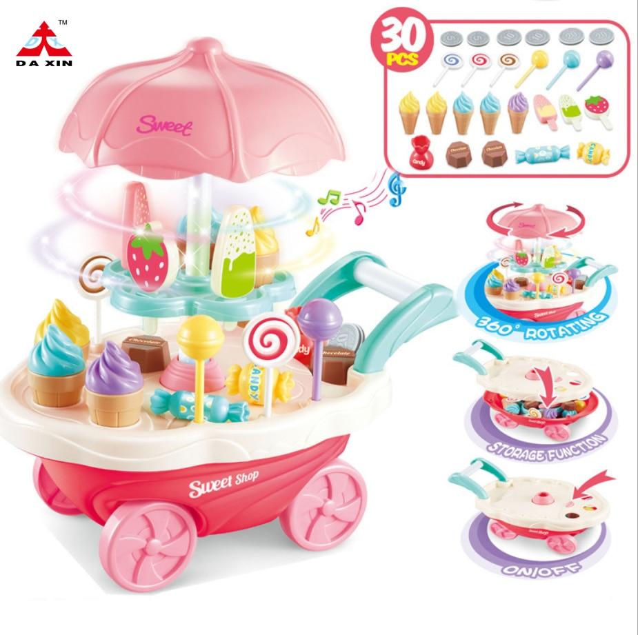 Carrito de helados para supermercado de juguete DA XIN, 30 uds, Mini carrito de música ligera rotativa para niños