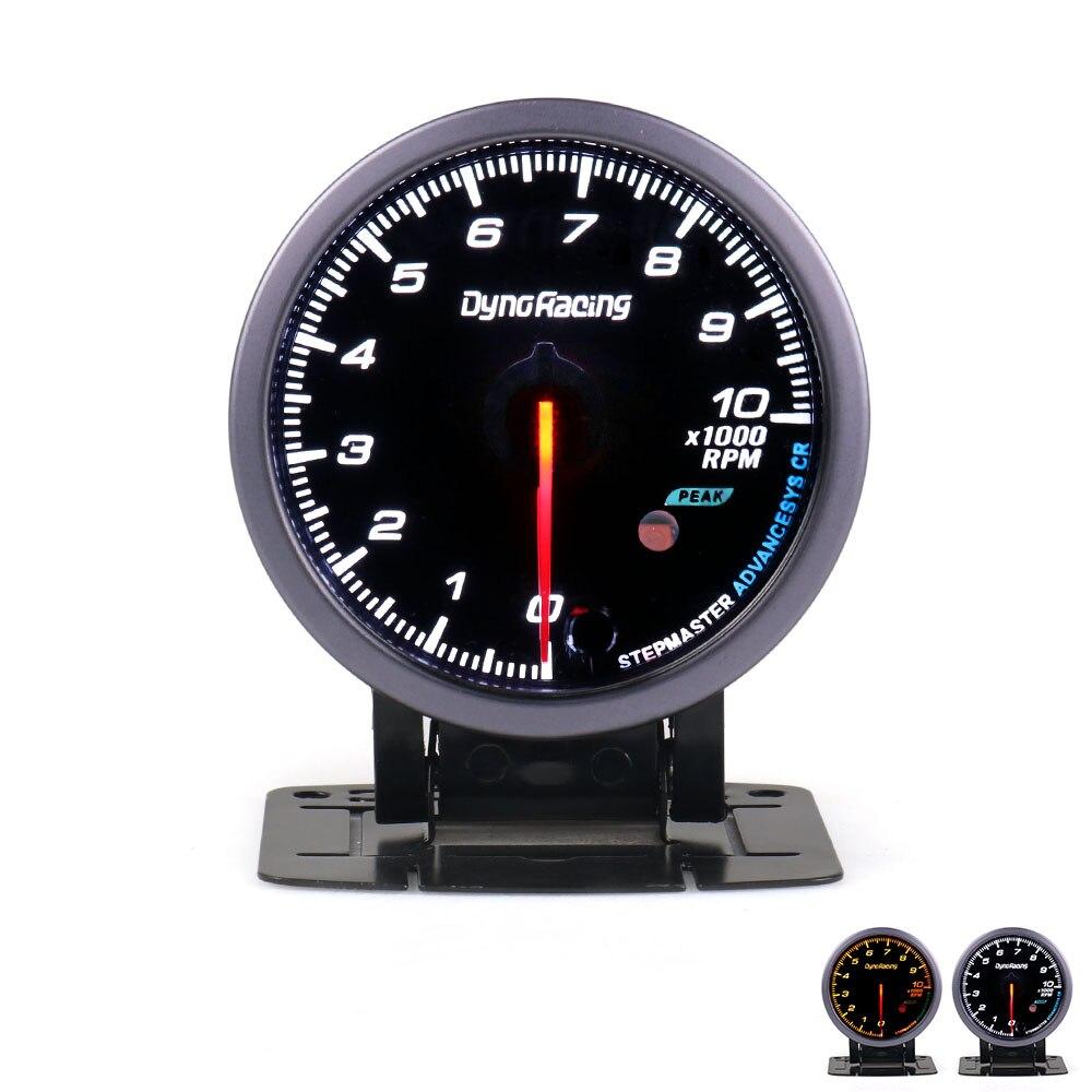 Автомобильный Тахометр Dynoracing, 60 мм, 0-10000 об/мин, датчик об/мин, черный лицевой метр с белым и янтарным освещением, автомобильный измеритель