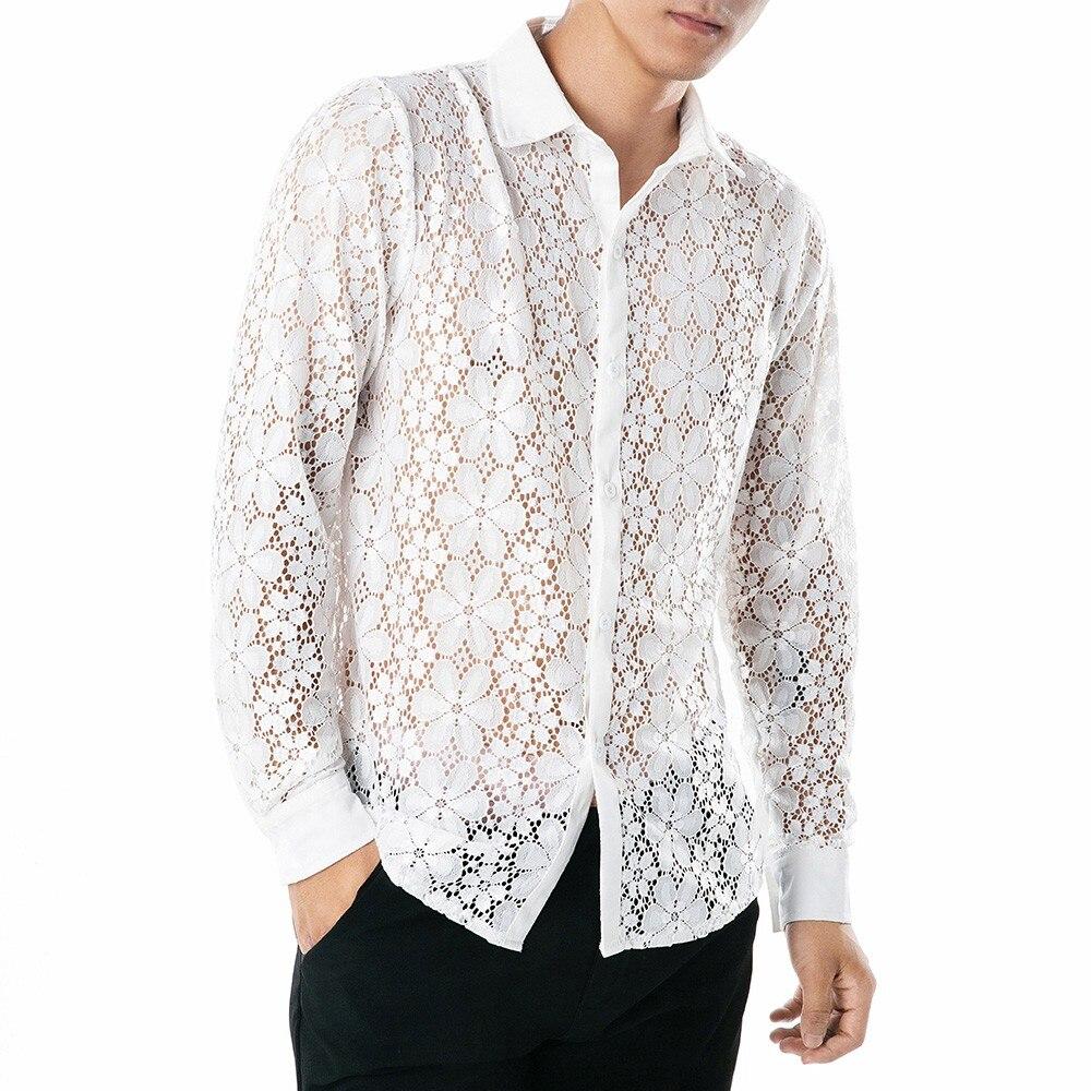 Camisa de encaje Floral hombres otoño bordado transparente camisas de vestir para hombre ver a través Sexy club nocturno Prom Camisa masculina Camisa 3,29