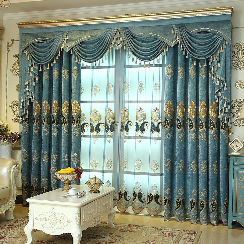 Cortinas de tule luxo para sala estar europeu azul chenille bordado veludo tule quarto decorar painel