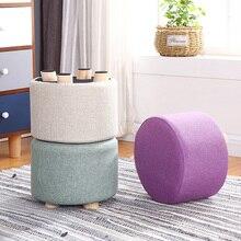 Pouf rond en bois avec petit tabouret, 24 couleurs, avec housse en coton et lin, mobilier de travail pour la maison, canapé