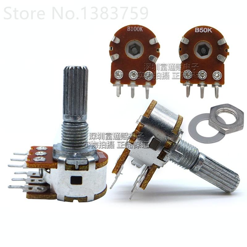 2pcs WH148 type 16 double B50K B100K volume potentiometer shaft length 20MM