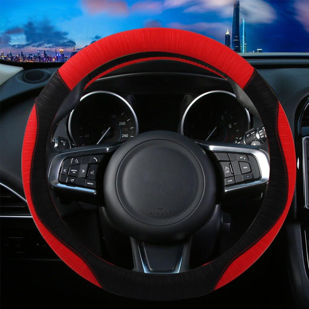 FLY5D 38 CM cubierta de coche volante de microfibra de cuero suave volante cubre moda clásica rojo/gris/azul /café/rosa