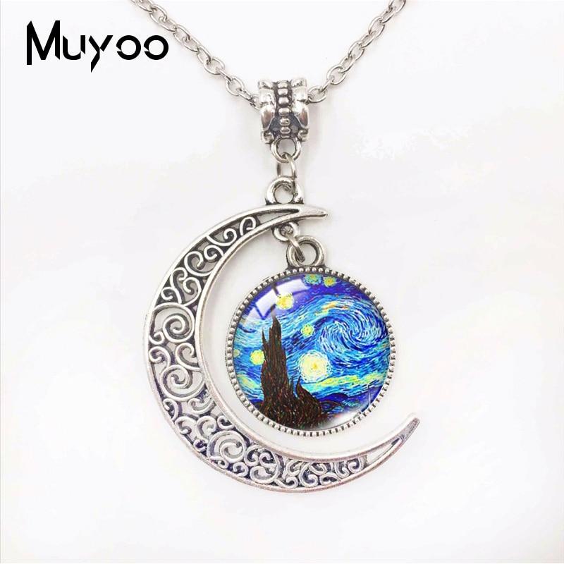 Famoso aceite de pintura de Van Gogh pintura noche estrellada de vidrio hecho Cresent Luna colgantes en forma de regalos de joyería artesanal