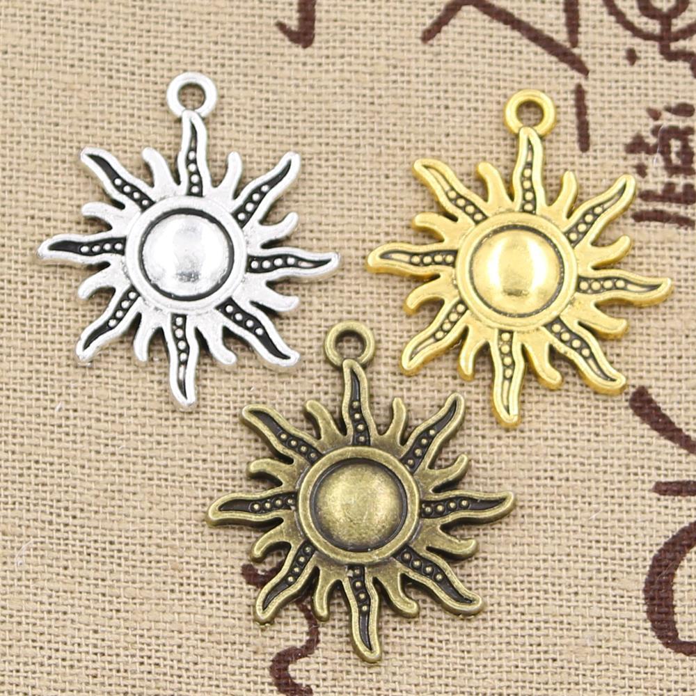 6 sztuk Charms słońce 28x24mm Hollow antyczne charms, wisiorek fit, w stylu Vintage tybetański brąz srebrny kolor złoty, ręcznie robiona biżuteria DIY