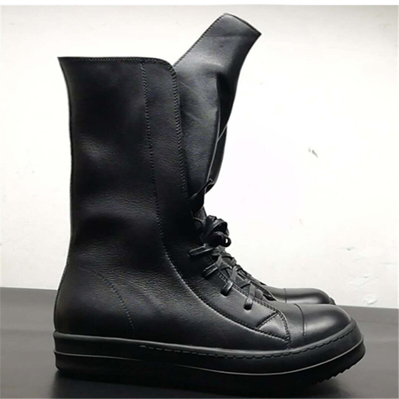 High top de couro genuíno de lazer plana Sapatos trainer botas de rock hip hop de rua personalizado