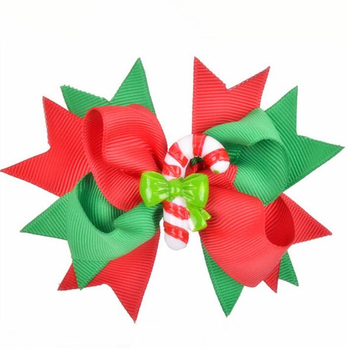 100 قطعة عيد الميلاد الأخضر والأحمر حلوى قصب الشعر القوس المشابك الشريط شحن مجاني