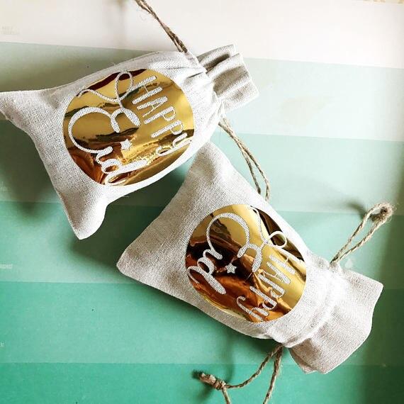 Oro personalizado Feliz Eid boda Ramadán Regalo boda favor bolsas musulmanas despedida de soltera recuperación de resaca Kit de supervivencia bolsas de dulces
