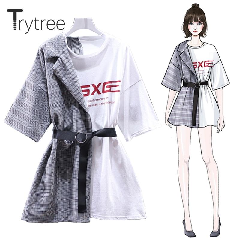 Женское асимметричное платье в клетку Trytree, черно-белое Повседневное платье выше колена с круглым вырезом и поясом