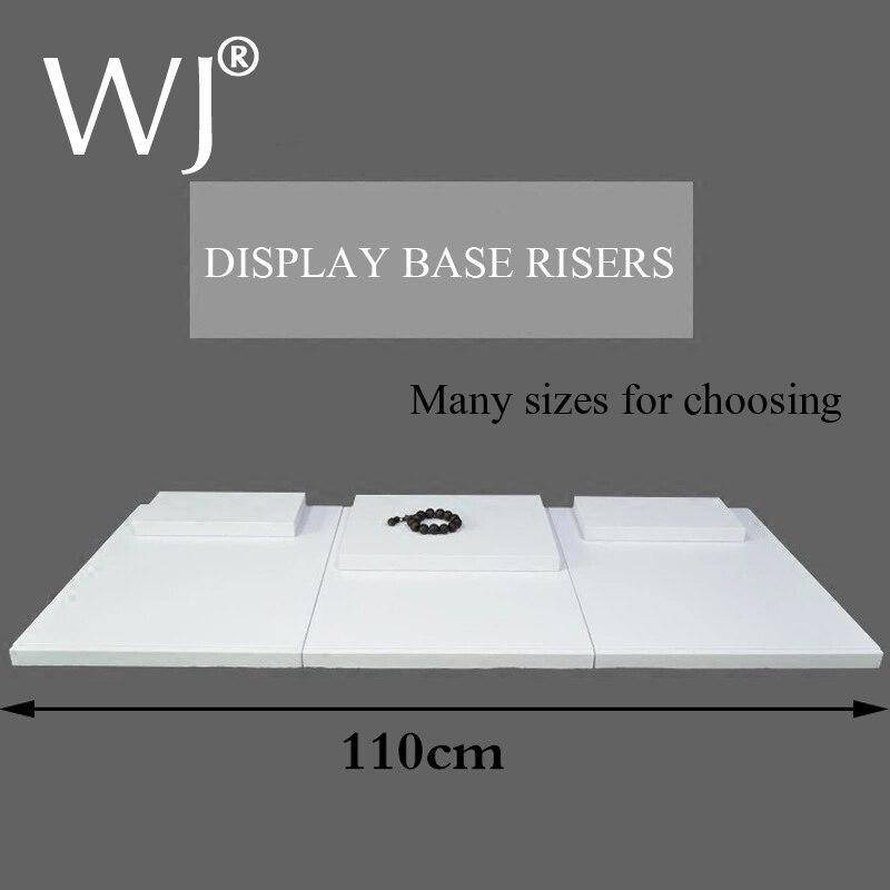 Base plana, conjunto moderno, Base de pantalla blanca, elevadores para escaparate de exhibición Jeewlry, tienda, mostrador, presentación superior, placa Base, bloque