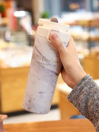 2019 nueva taza térmica de café portátil para estudiantes edición coreana de literatura fresca y arte creativo tendencia botella de agua