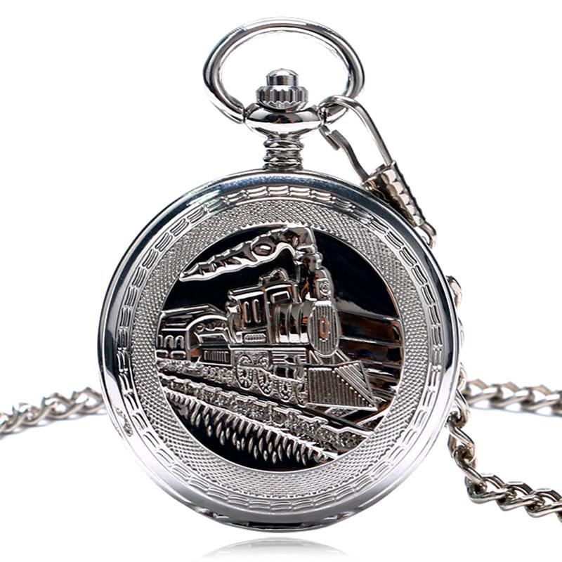 Reloj de bolsillo vintage colgante de plata único para mujer cuerda a mano mecánica FOB doble cadena de cazador ferroviario hombres reloj de moda P1035C