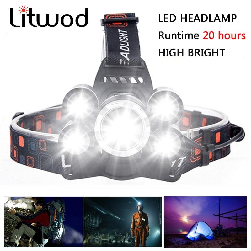 Litwod z20 LED  Headlamp Headlight XM-L T6 1500 Lumen Head Lamp Flashlight Torch Lanterna led  Headlamp 90 degree night