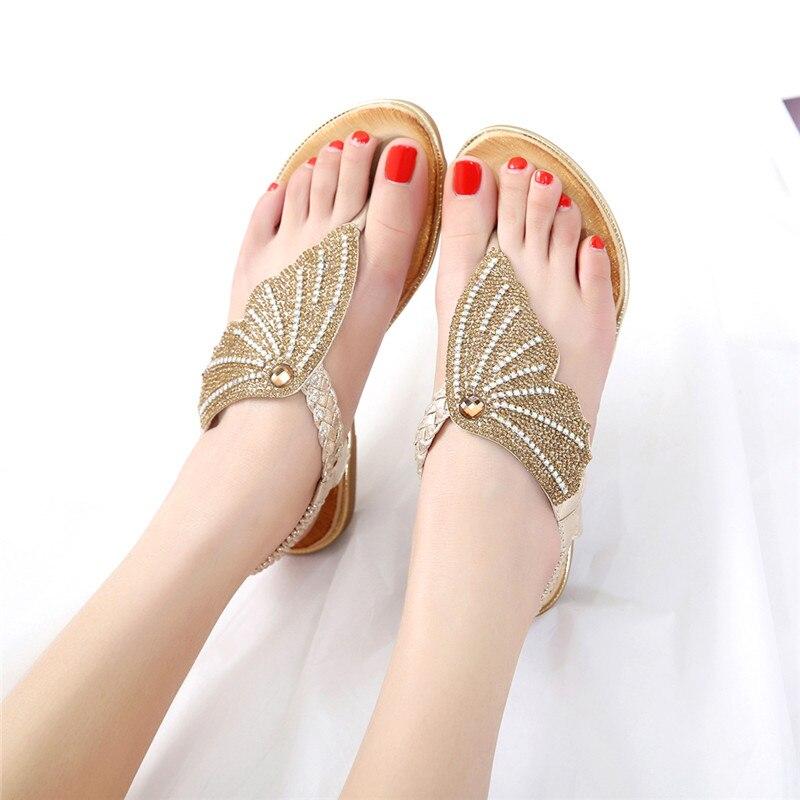 Frauen Sandalen Sommer Schuhe Frau flip-flops Damen Casual Schuhe 2019 Alias Mujer Strass Gold Flachen Sandalen Plus Größe 42