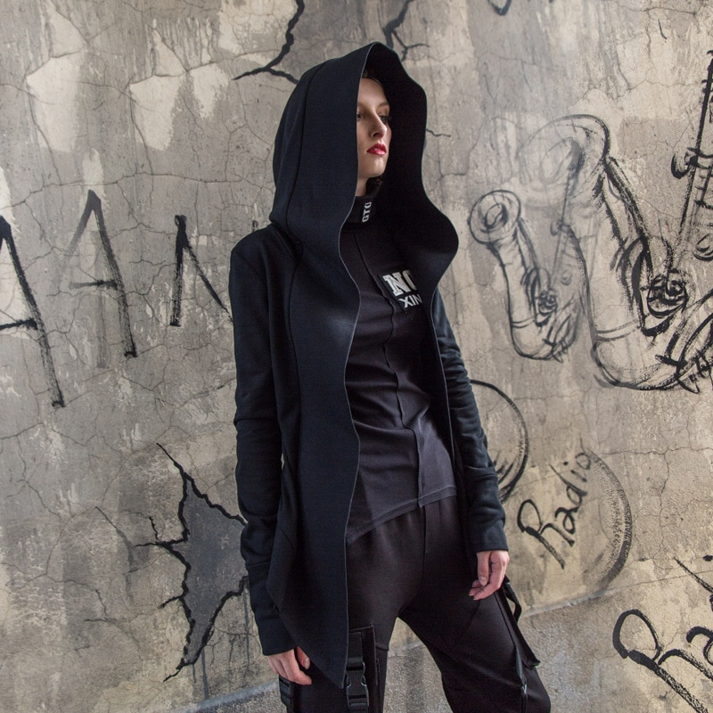 الظلام الساحرة غير النظامية هوديس المرأة بلوزات طويلة الأكمام BF هومات معطف الرأس الأسود القوطية حجم كبير الرمز الهاتفي قمة صلب