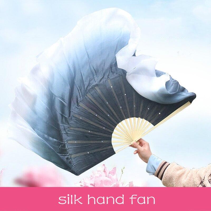 Abanico de mano de seda de baile clásico de tinta con gradiente...