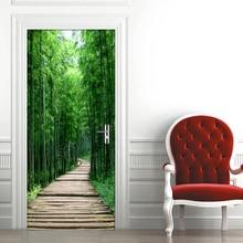 Autocollant Mural 3D créatif pour porte   Bricolage, décoration, papier peint autocollant, petite route, forêt de bambou, chambre à coucher, rénovation de porte, Photo, 3D