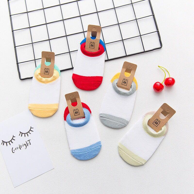 5 Pair/lot Baby socks 100% cotton rubber slip-resistant floor socks cartoon small kid's socks suit 0-24months