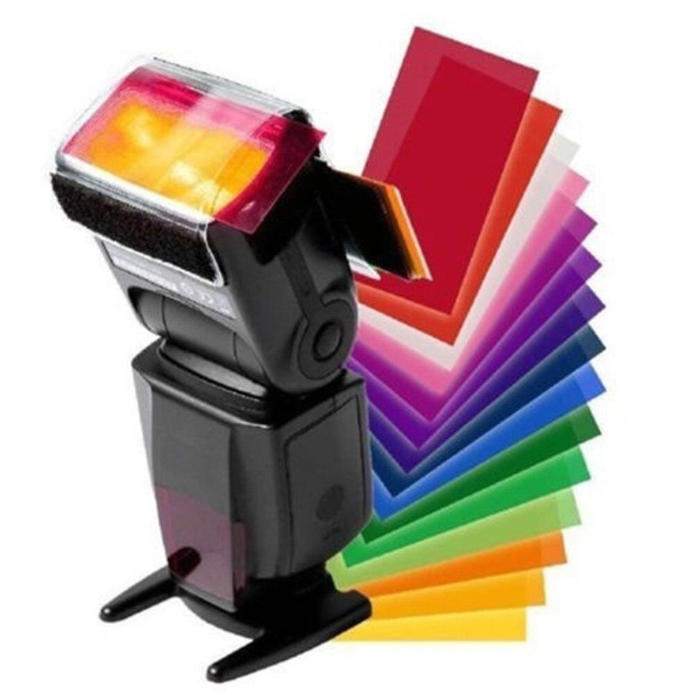 12 peças cartão de cor para strobist flash gel filtro equilíbrio de cor com faixa de borracha difusor iluminação para canon/nikon para sony