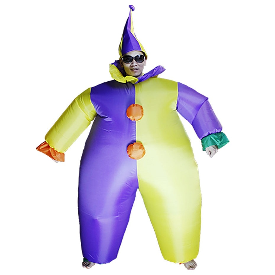Women Men Adult Inflatable Clown Costume Halloween Xmas Birthday Gift Party Carnival Cosplay Fancy Dress Performance Blowup Suit pennywise costume stephen king s it scary clown mask costume adult men women horror halloween pennywise the clown costume
