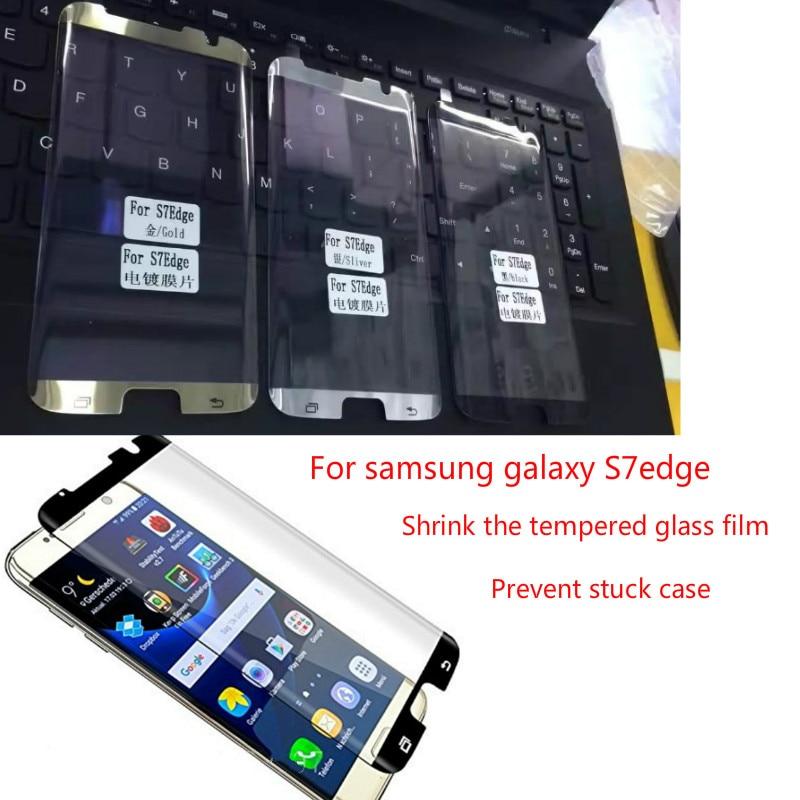 Película protectora de vidrio curvado 3D de media pantalla para samsung galaxy S7 edge película protectora S7 edge película estrecha negra plateada dorada