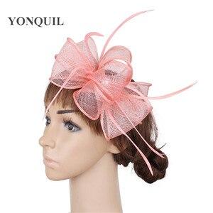 Elegant Bride Formal Dress Wedding Headwear Sinamay Fashion Fascinators Hat Fancy Feathers Mesh Hair Accessories For Female Hat
