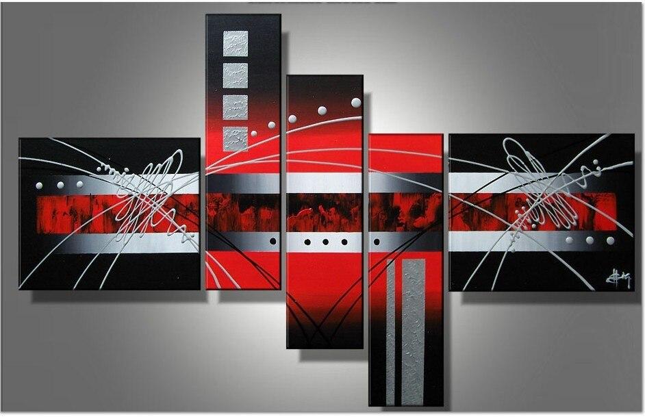 Lienzo moderno pintado a mano arte de pared nubes rojas negras líneas plateadas pinturas al óleo abstractas sobre lienzo 5 unids/set cuadros decoracion