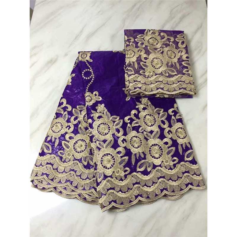 Nuevo tejido de encaje de 5 yardas hecho a mano Bazin Riche en Color púrpura nigeriano Ankara patrón único lavabo mujeres con 2 yardas de encaje neto