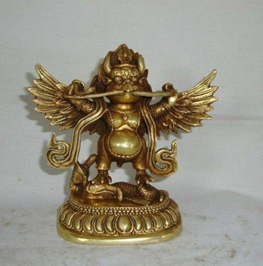 Elaborado chino tibetano latón de budista Garuda estatua