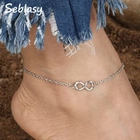 seblasy summer foot jewelry small infinity anklets for women new arrived silver color barefoot party femme bijuterias sandal